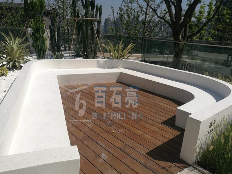 【工程案例】园林景观坐凳水磨石-龙湖舜府项目