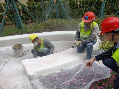 现浇异型水磨石施工花絮——重庆林山郡项目景