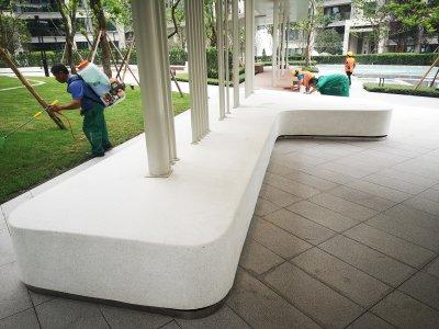 水磨石花池坐凳案例 -- 中交中央公园项目