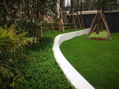 【工程案例】园林景观异型水磨石花池坐凳——